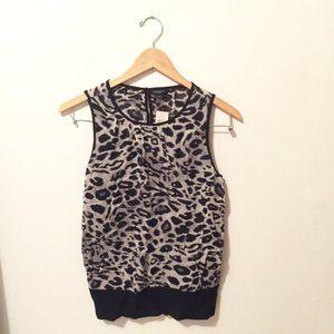 Ann Taylor Black & White Leopard Print Shell Top